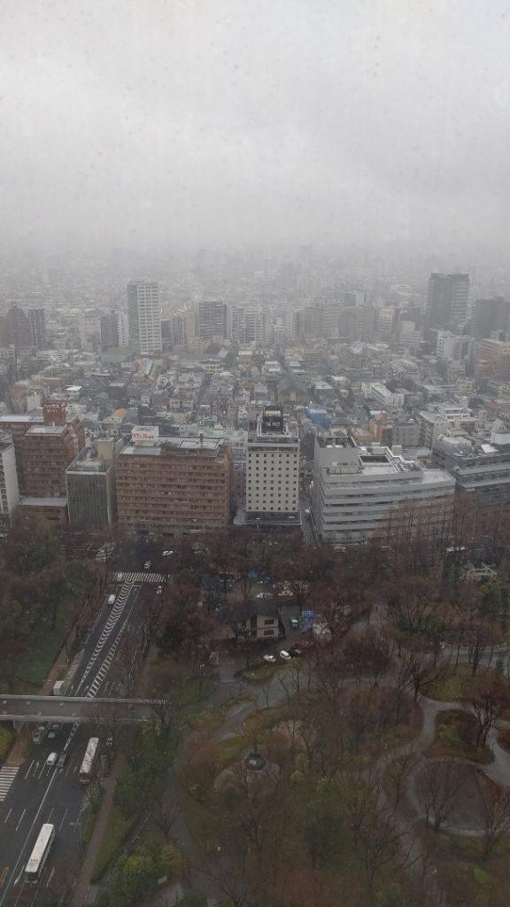 都庁の28階から雨の新宿の風景